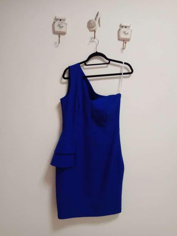 Vestido Escote Asimétrico Azul 1